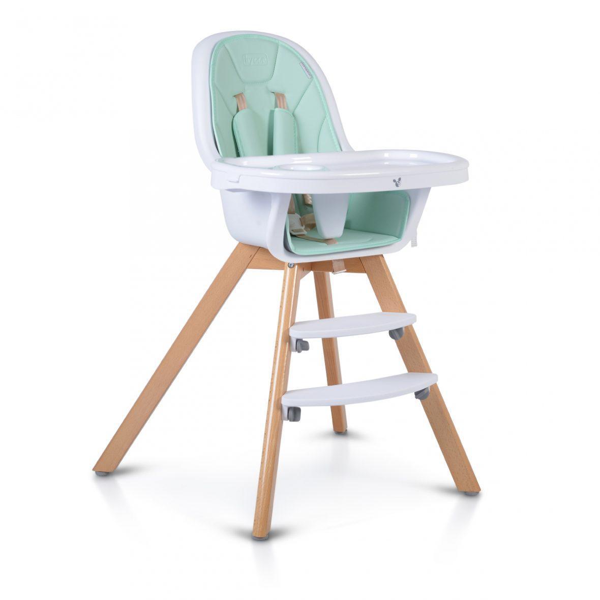 Lesen stolček za hranjenje HYGGE 2v1, mint