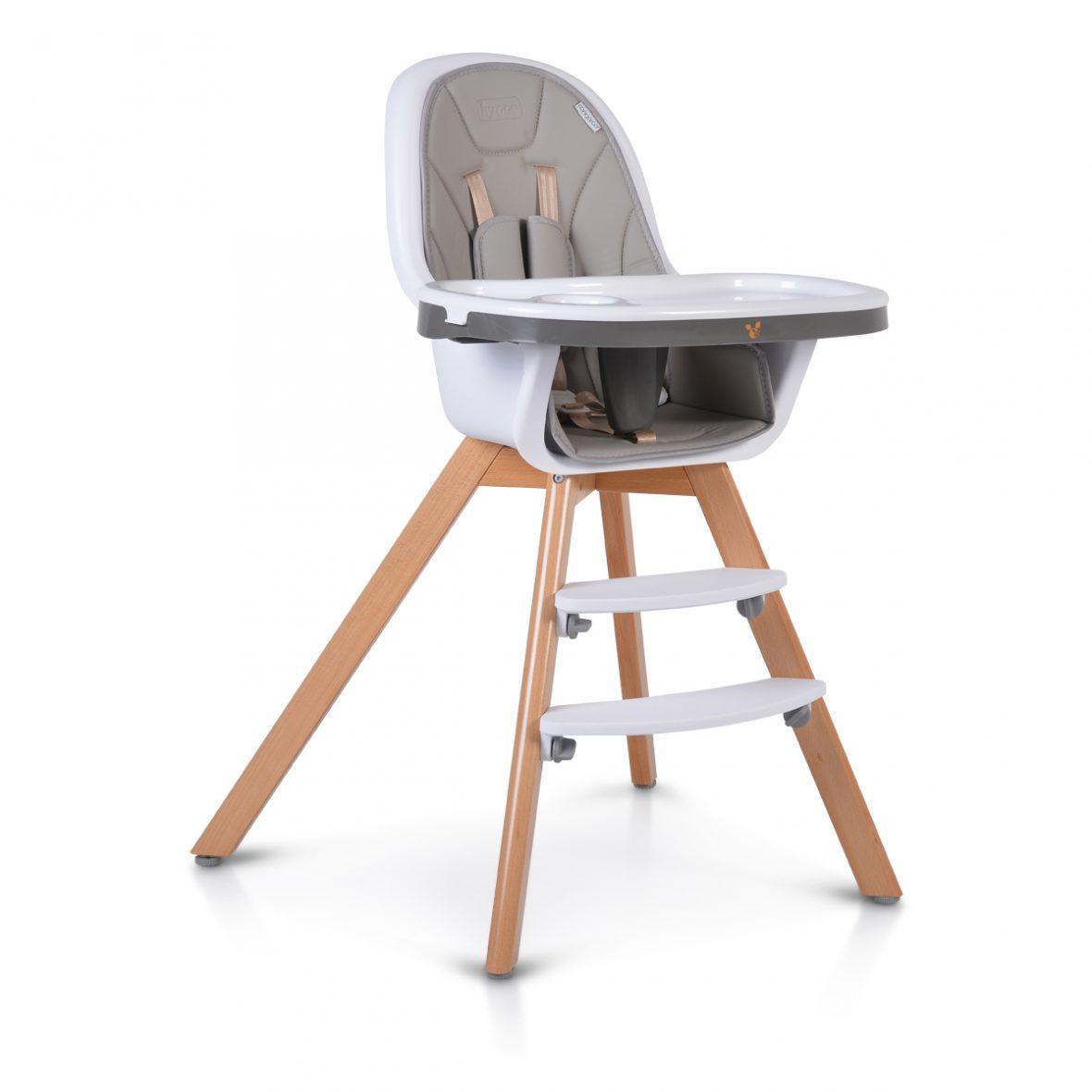 Lesen stolček za hranjenje HYGGE 2v1, siv