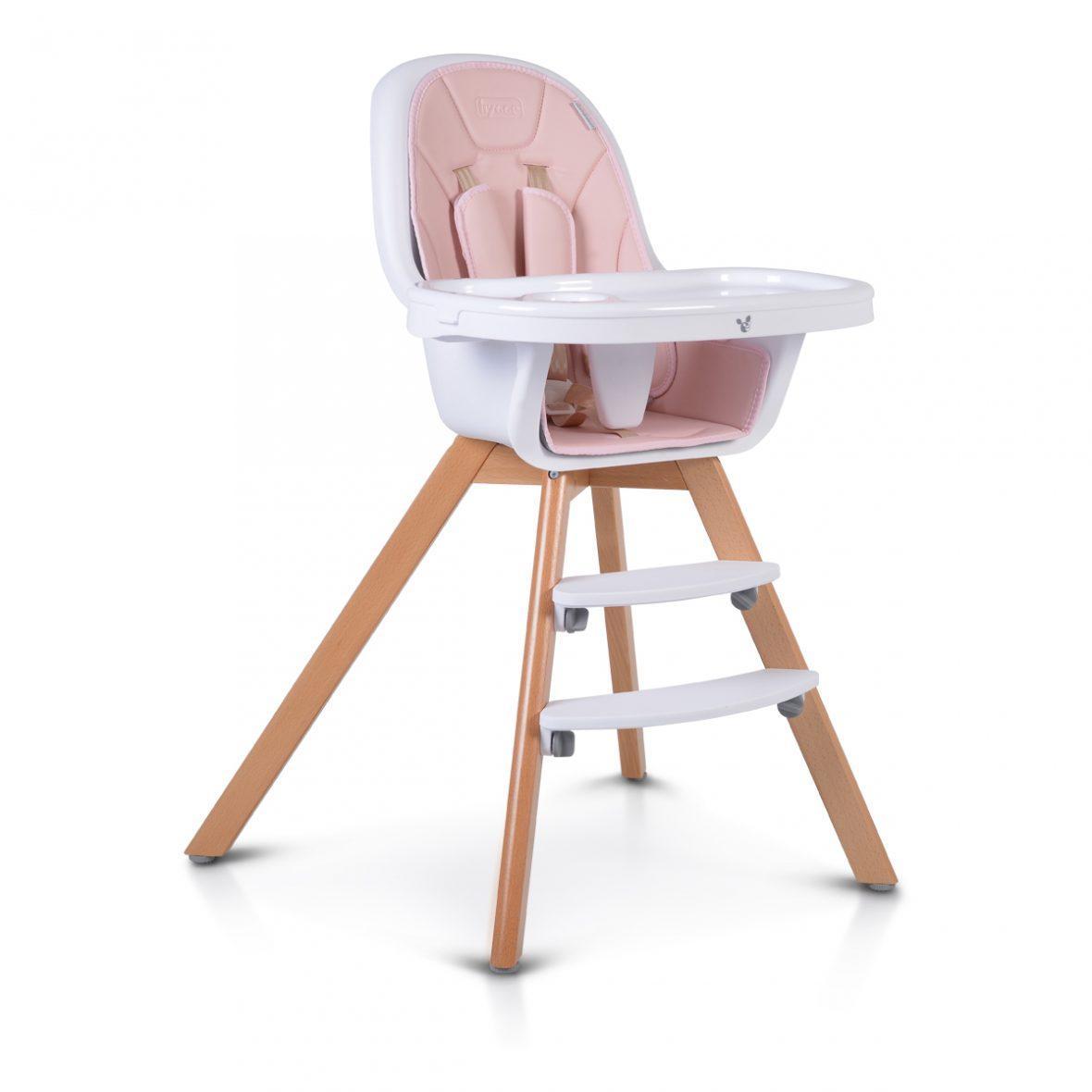 Lesen stolček za hranjenje HYGGE 2v1, roza