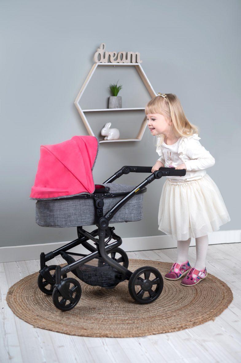 Voziček za punčke 3v1, roza