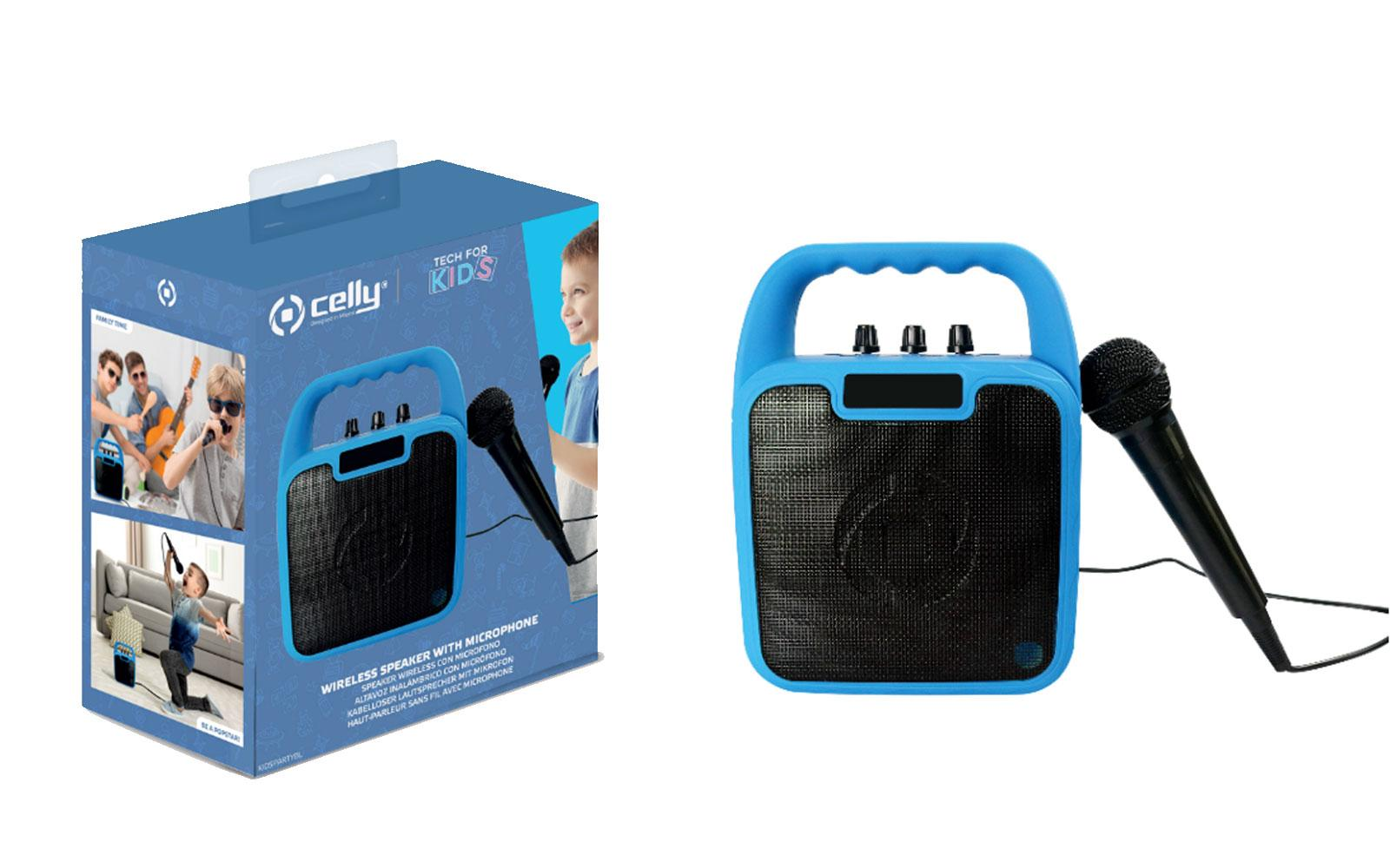 Karaoke zvočnik in mikrofon, moder
